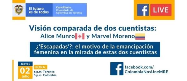 Consulado de Colombia en Toronto realizará el Facebook Live sobre la visión comparada de dos cuentistas el próximo 2 de julio  de 2020