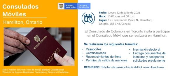 Consulado de Colombia en Toronto realizará el Consulado Movil en Hamilton, el 22 de julio de 2021