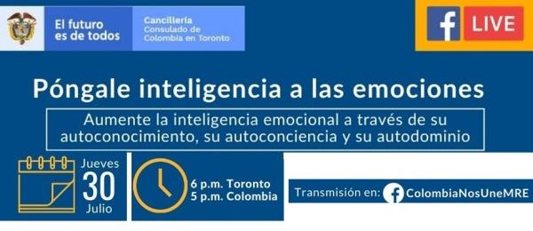 El Consulado de Colombia en Toronto invita al Facebook Live sobre emociones