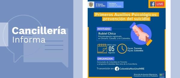 Consulado de Colombia en Toronto invita a la charla virtual 'Primeros auxilios psicológicos, prevención del suicidio', el 5 de agosto de 2020
