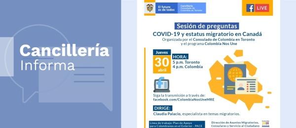 Consulado de Colombia en Toronto invita a la charla virtual 'COVID-19 y estatus migratorio en Canadá' el 30 de abril de 2020
