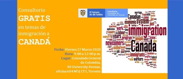 ¿Tiene preguntas sobre temas de inmigración a Canadá? Podrá resolverlas gratis en el Consulado de Colombia en Toronto el 27 de marzo de 2020